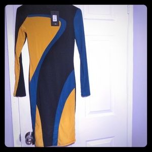 Fashion Nova tri-color jersey bodycon dress